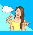 woman eating sushi rolls pop art vector image vector image