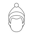 young man head with winter clothes vector image