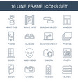 16 frame icons vector image vector image