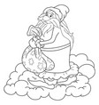 a children coloring bookpage a santa klaus on the vector image