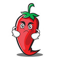 angry red chili character cartoon vector image