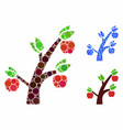 apple tree mosaic icon round dots vector image vector image