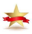 badge star with red ribbon vector image