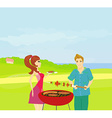 Barbecue Party - cook and girl vector image