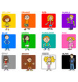 basic colors educational set with kids vector image vector image