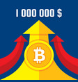 bitcoin growth up to one million dollars vector image vector image