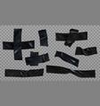 black insulating adhesive wrinkled stripes set vector image vector image