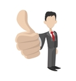 Businessman holding his thumbs up icon vector image