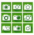 camera icon set on green background with long vector image vector image