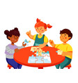 children doing a puzzle - colorful flat design vector image