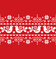 christmas folk art seamless textile pattern vector image