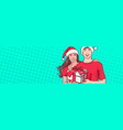 christmas poster with man and woman in santa hats vector image