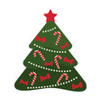 christmas tree decorated with candies and ribbons vector image