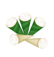 Coconut Custard in Banana Leaf Cone vector image vector image