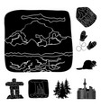 country canada black icons in set collection for vector image vector image