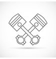 Crossed engine pistons outline icon vector image vector image