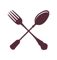 Crossed Spoon with Fork isolated on white vector image vector image