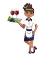 cute waitress with wine vector image