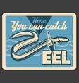 eel fish fishing retro poster vector image vector image