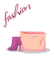 fashionable woman s shoes and bag pink color and vector image