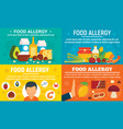 food allergy banner set flat style vector image