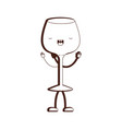 glass of champagne sour cartoon brown silhouette vector image