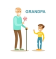 Grandpa Giving Candy To Grandson Happy Family vector image vector image