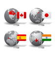 gray earth globes with designation canada vector image vector image