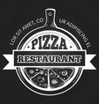 hand drawn pizzeria label on chalkboard vector image vector image