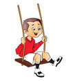 happy boy on swing vector image vector image