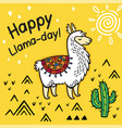 happy llama day cute cartoon llama card vector image