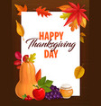 happy thanksgiving day greeting card frame vector image vector image