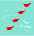 happy valentines day red origami paper plane set vector image vector image