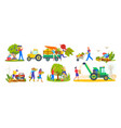 harvesting season tractor and agriculture workers vector image vector image
