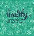 healthy food poster or banner and text healthy vector image