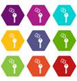 hotel key icon set color hexahedron vector image vector image