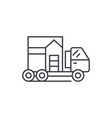 house transportation line icon concept house vector image vector image