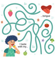 i taste with my tongue maze game for kids vector image