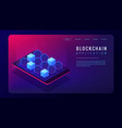 isometric blockchain application landing page vector image