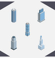 isometric building set of tower apartment vector image vector image