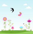 landscape clouds flower swallow butterfly i vector image vector image