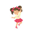lovely brunette little girl dancing vector image vector image