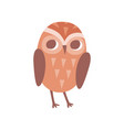 lovely cartoon brown owlet bird character vector image vector image