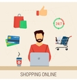 Man with laptop shopping online vector image vector image