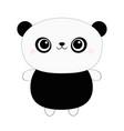panda bear toy icon kawaii animal black and vector image