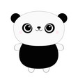 panda bear toy icon kawaii animal black vector image