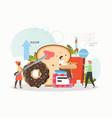 people eating sugar bread donut lollypop hot vector image