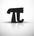 Pi Symbol - Icon - Black pi with Reflection vector image vector image