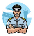 pilot smiling and crossing arms vector image vector image