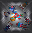 road accident at intersection at night vector image vector image
